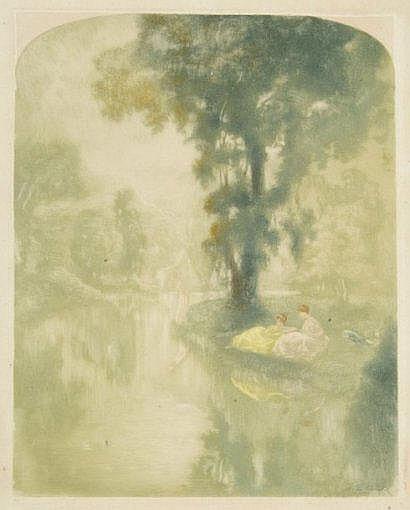 Henri LE RICHE (1868-1944) Elégantes au bord d'une