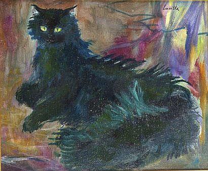 Henri LAVILLE (né en 1916). Chat noir couché.