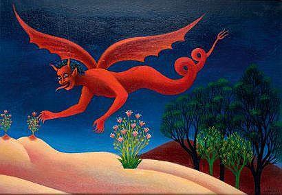 Dimitri YORDANOV (Né en 1926). Mon diable. Toile,