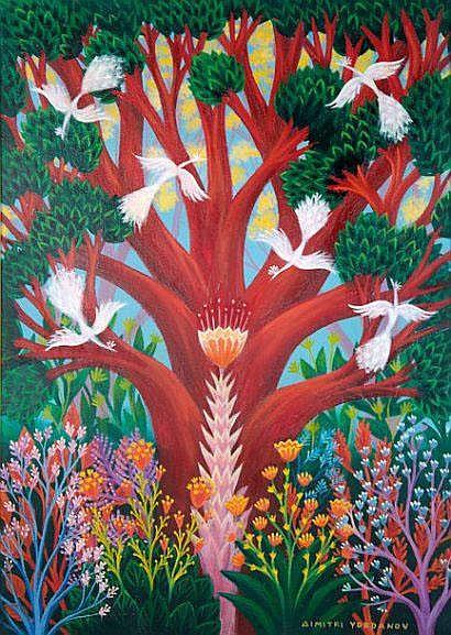 Dimitri YORDANOV (Né en 1926). Oiseaux du Paradis.