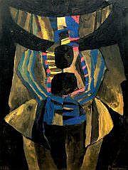 Serge REZVANI (né en 1928) Composition. Huile sur