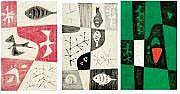 René FUMERON (né en 1921) Triptyque. Acrylique sur