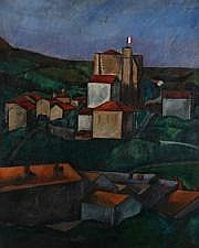 Simon MONDZAIN (1890-1979) Paysage au drapeau
