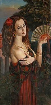 ALIMOV Femme à l'éventail, 1999. Huile sur