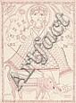 DESSIN DE MITHILA, INDE, XXe ET TROIS GRAVURES, Godefroy Engelmann, Click for value
