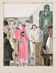 Pierre de BELAY (1890-1947) Vernissage Gouache.