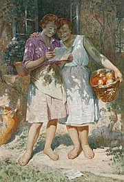 Stéphane LEROY (1877-?) La lettre Aquarelle et