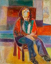Lutka PINK (1906-1999) Femme assise, 1974 Huile