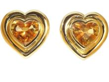 Paloma Picasso for Tiffany & Co Citrine and Gold Heart Clip On Earrings c.1983