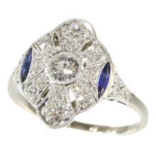 Art Deco Diamond and Sapphire Ring c.1920