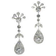 Platinum and Diamond Dangle Earrings c.1950