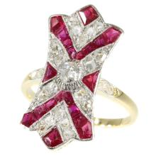 Art Deco Ruby and Diamond Gold Ring c.1920