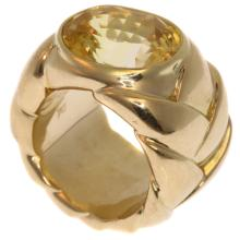 Signed JAR Ring 10ct Yellow Sapphire c.1980