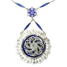 Edwardian Blue Enamel and Diamond Turning Necklace c.1910