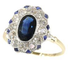 Art Deco Sapphire and Diamond Engagement Ring c.1930