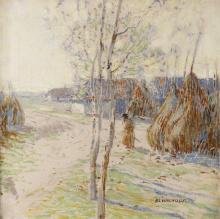 Alois Kalvoda, (1875 – 1934), Behind the Barns, around 1895