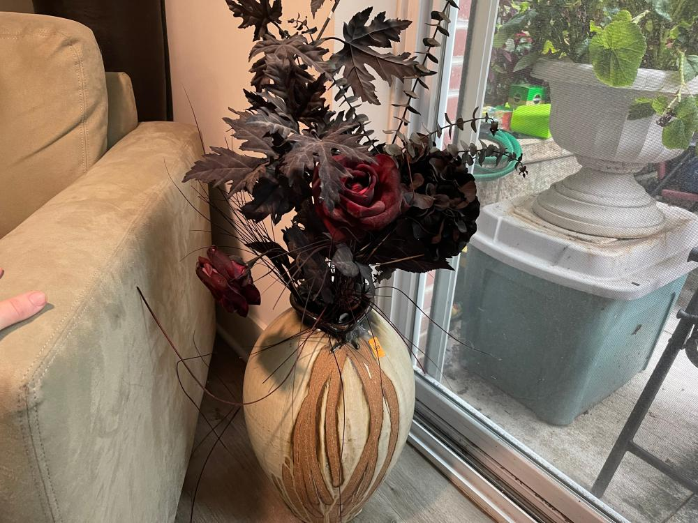 CERAMIC UNMARKED VASE AND FAUX FLOWERS