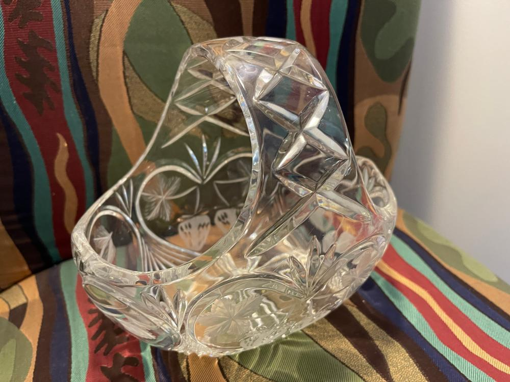 PRESSED GLASS FRUIT BASKET UNMARKED
