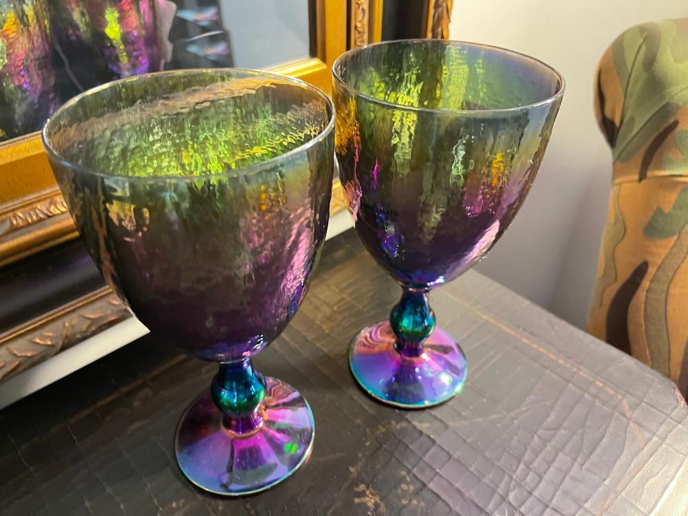PAIR OF OPALESCENT MERMAID GOBLETS