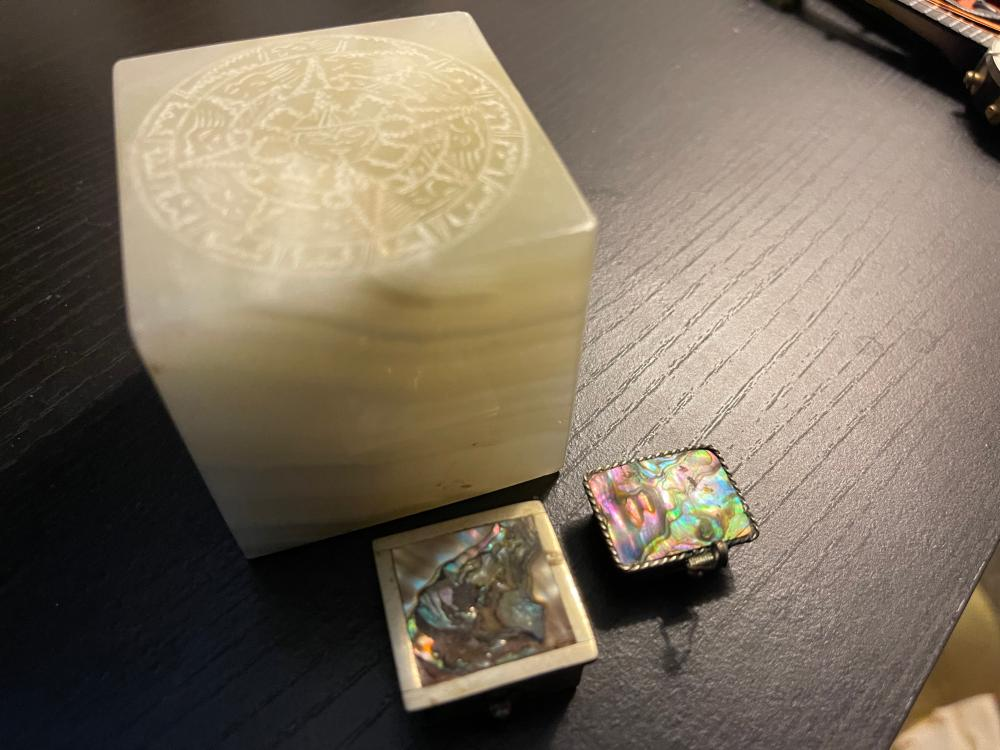 2 STERLING SILVER BOXES AND MOTHER OF PEARL AND STONE SQUARE
