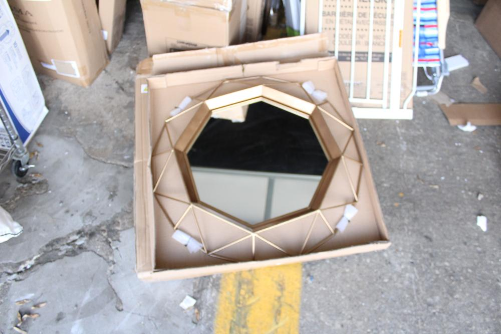 GOLD TONE WIRE FRAMED MIRROR
