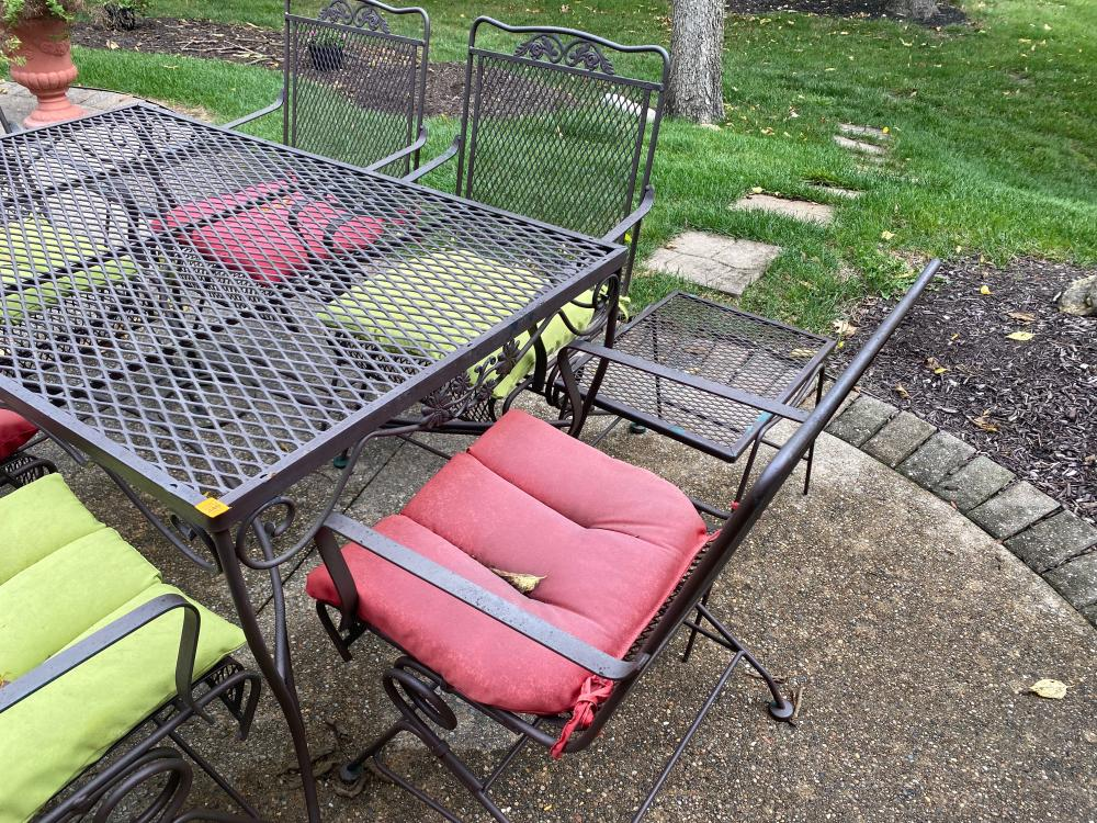 OUTDOOR TABLE AND 6 CHAIRS AND 2 SMALL SIDE TABLES