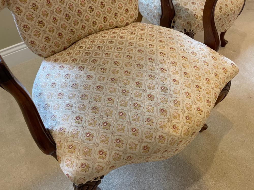 PAIR UPHOLSTERED NAILHEAD ARMCHAIRS