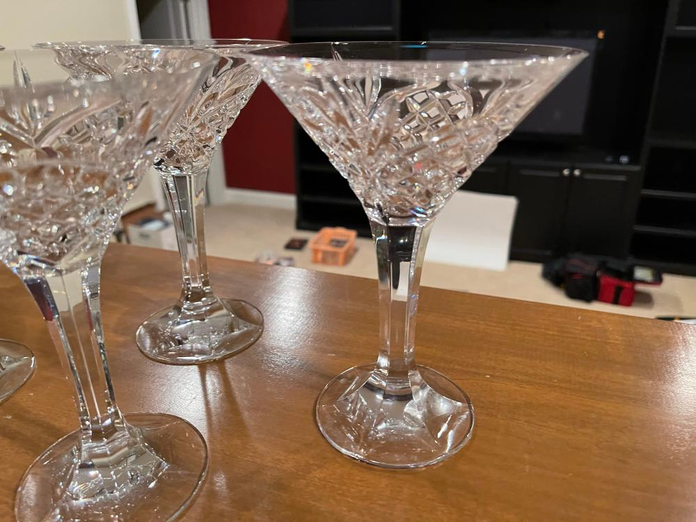 LOT OF 3 UNMARKED CRYSTAL MARTINI GLASSES