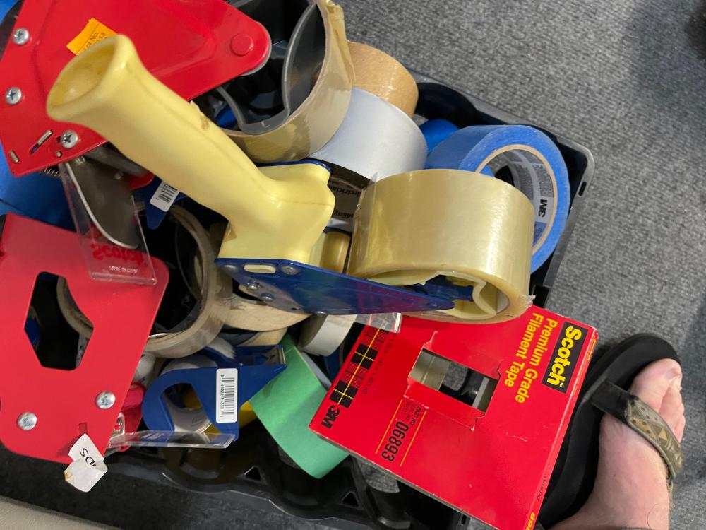 LOT OF TAPE ROLLS AND TAPE GUN
