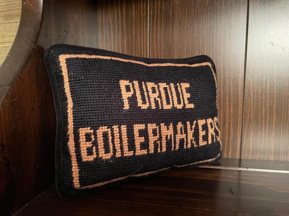 SMALL EMBROIDERED PURDUE THROW PILLOW