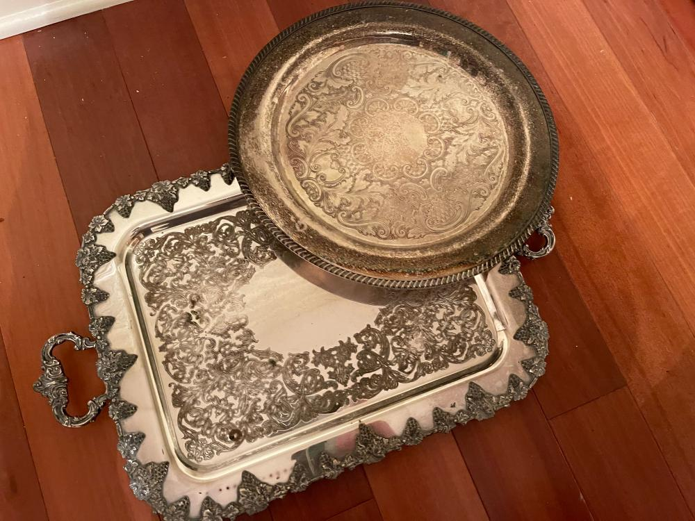 PAIR OF SILVER PLATE SERVING PLATTERS