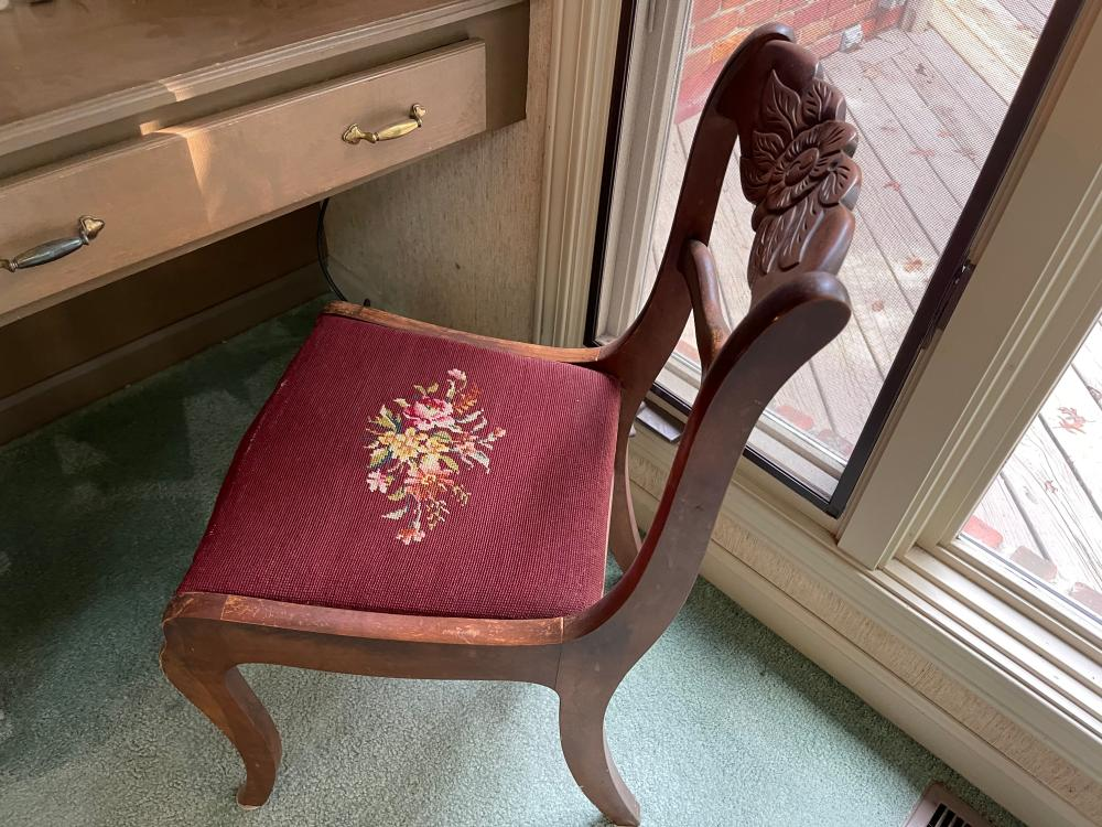 VINTAGE EMBROIDERED SEAT AND HAND CARVED WOOD CHAIR