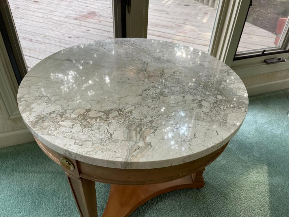 ROUND STONETOP SIDE TABLE