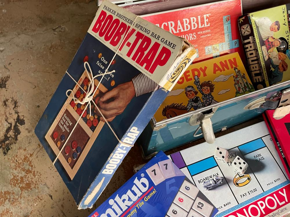 VINTAGE TRUNK WITH VINTAGE SCRABBLE, RAGGEDY ANNE, TROUBLE AND BOOBIE TRAP