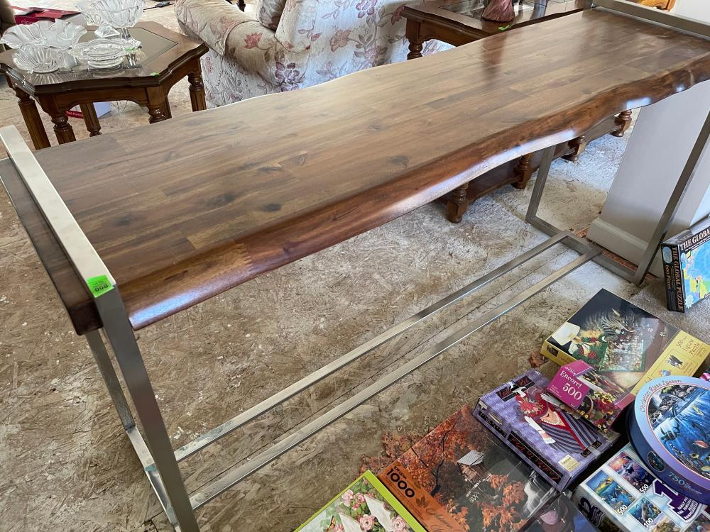 HOOKER CONTEMPORARY WOOD AND METAL SOFA / CONSOLE TABLE
