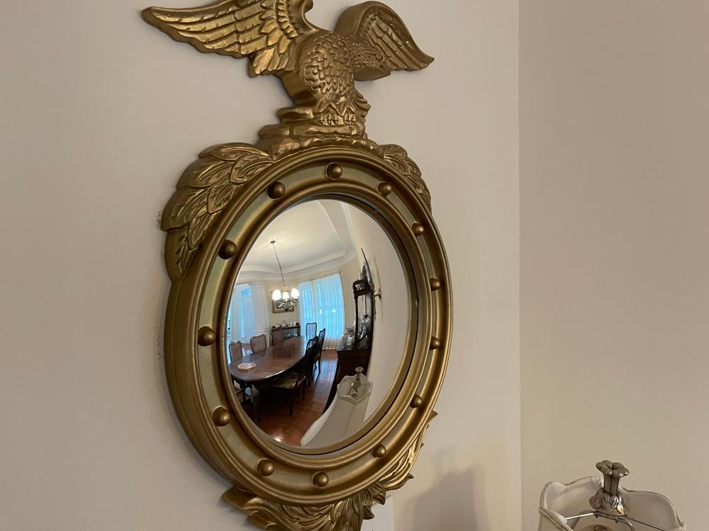 FEDERAL STYLE EAGLE PLASTIC GOLD FRAMED MIRROR