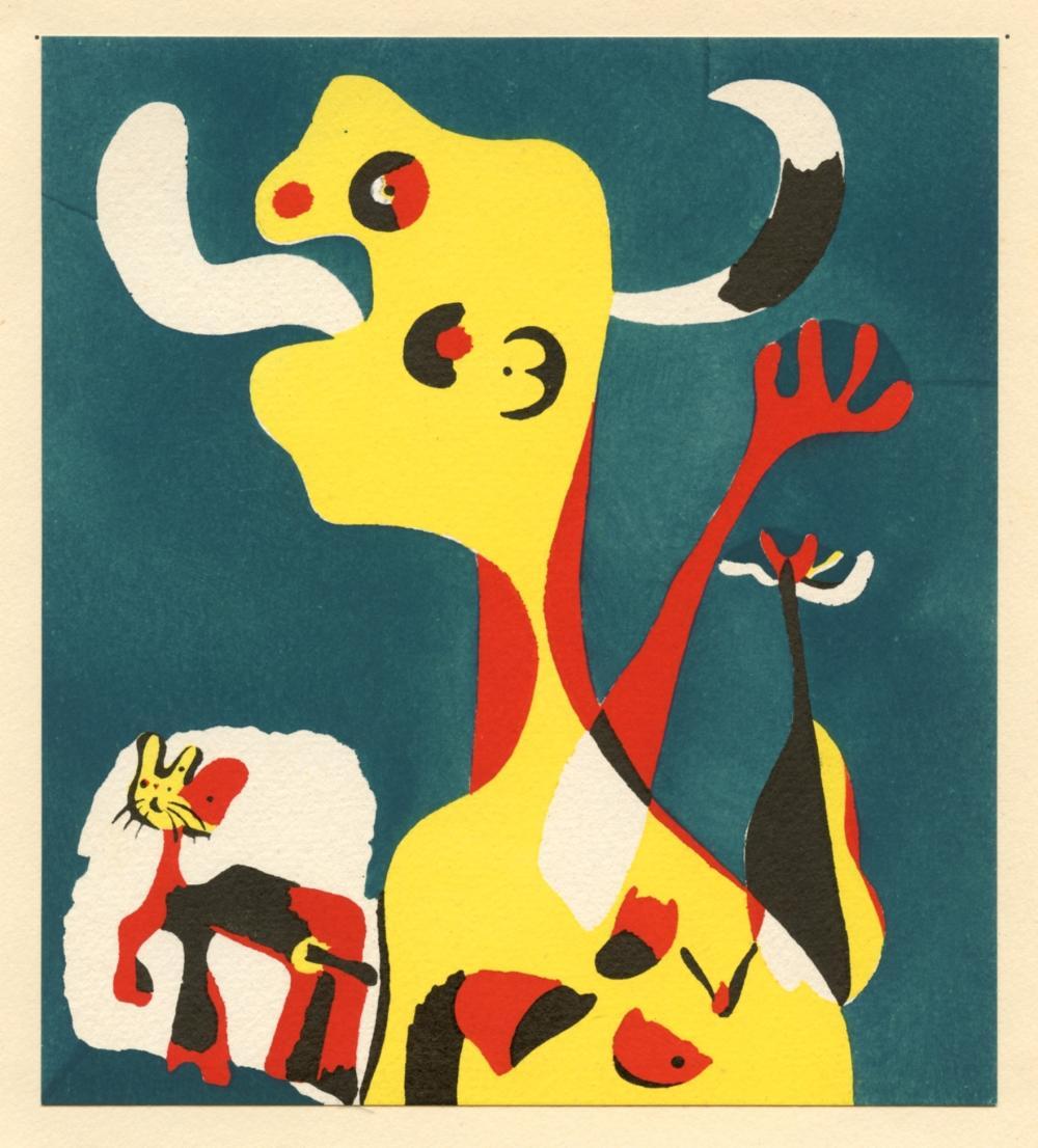 """Joan Miro pochoir """"Figura y perro ante la luna"""""""