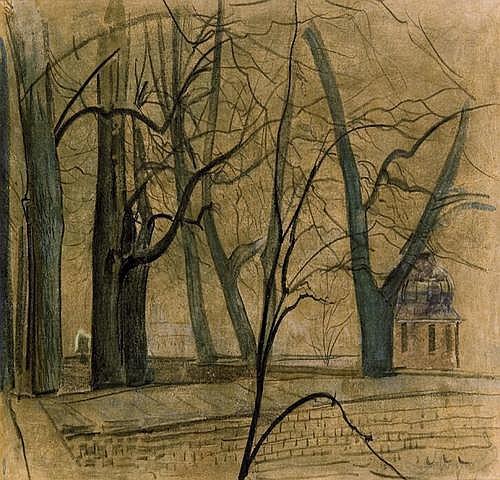 Wyczó ł kowski Leon: Autumn trees at Wawel (Krakow)