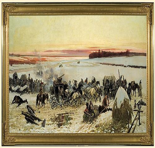 Kossak Wojciech: Napoleon forces crossing Berezina, 1895