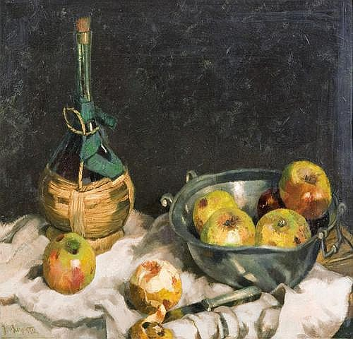 Burger Josef: Still life with apples and bottle of wine