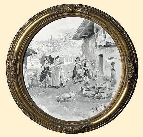 Flashar Max: Visit at countryside, 1886