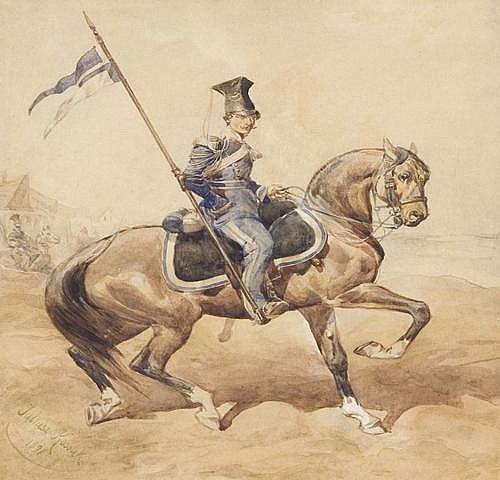 Kossak Juliusz: Ulan of the Lvov national guard, 1891