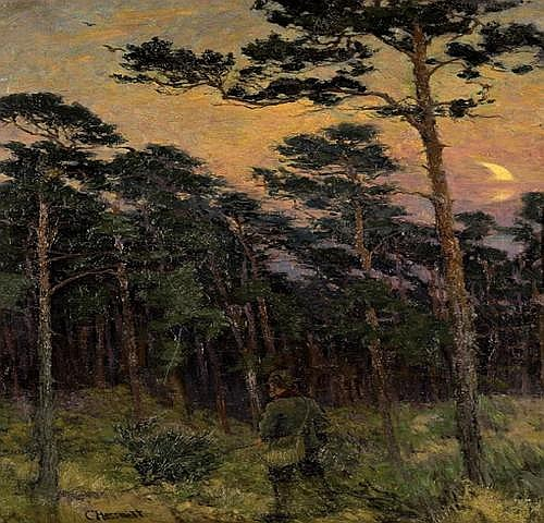 Hessmert Carl: Evening at woods