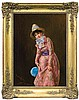 Blume Edmunde - IN A NEW DRESS, oil, canvas, Edmund Blume, Click for value