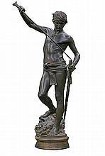 Mercié Marius Jean Antonin - DAVID THE CONQUEROR, patinated bronze