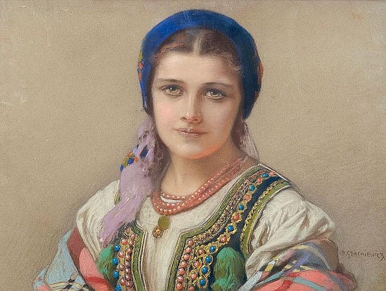 Stachiewicz Piotr Cracovian girl pastel, paper