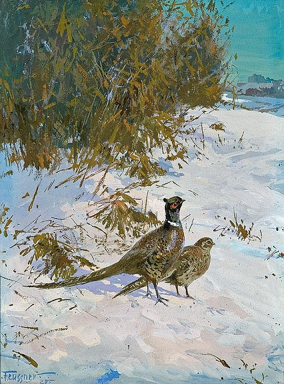 Feussner Reinhold Pheasants on snow, 1920 gouache,