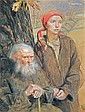 Axentowicz Teodor Elderness and Youth alegory,1920, Teodor Axentowicz, Click for value
