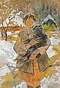 Sichulski Kazimierz - GIRL WITH LAMB. BLACK LAMB, 1940, Kazimierz Sichulski, Click for value