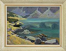 Gałek Stanisław - TATRA MOUNTAINS, BLACK POND, 1924, oil, cardboard